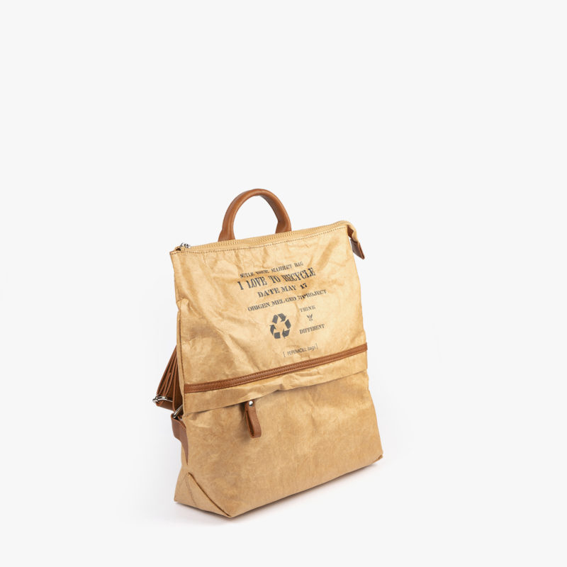 bolso mochila de papel verde pepemoll 57051 perfil