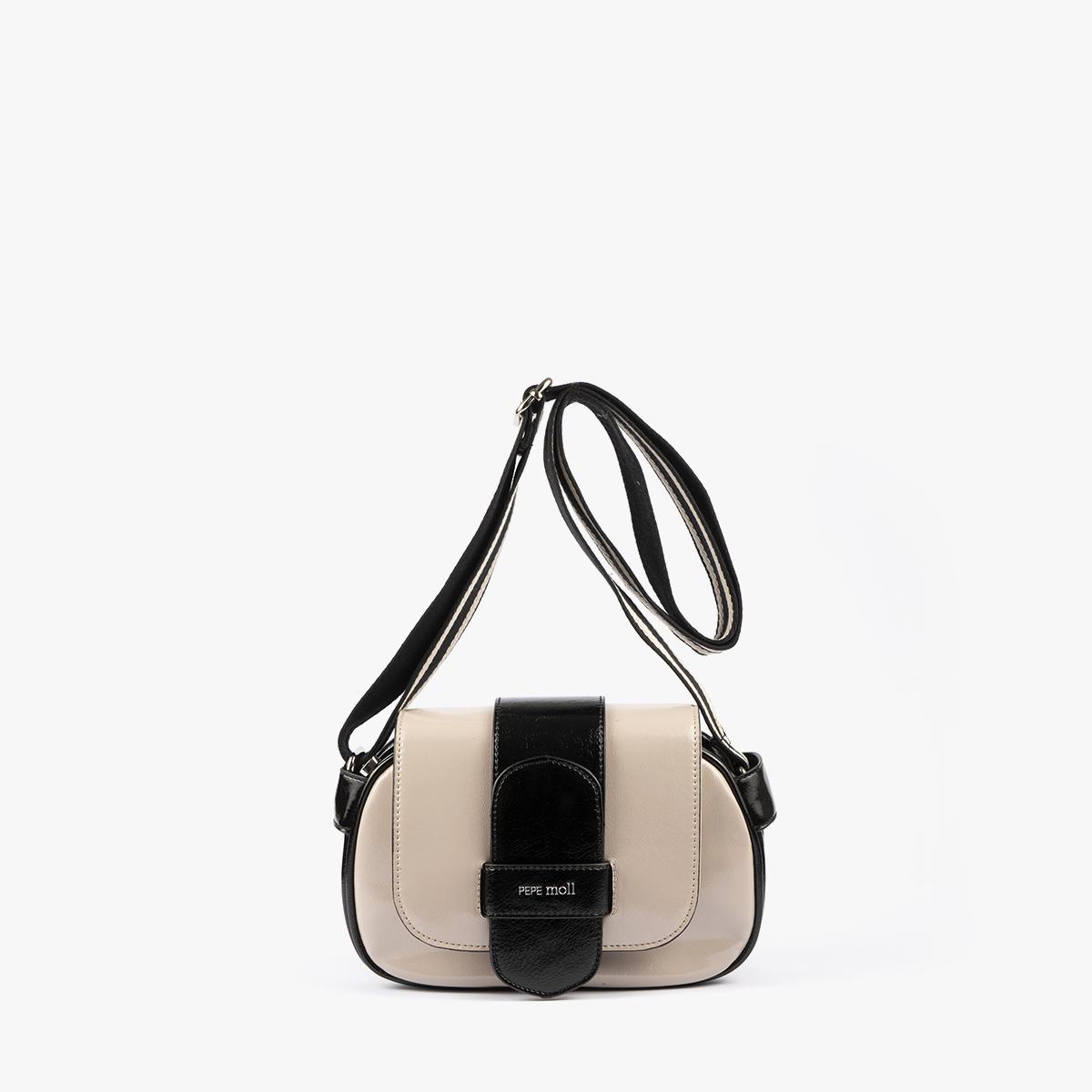 bolso badolera blanco y negro 45118 frontal