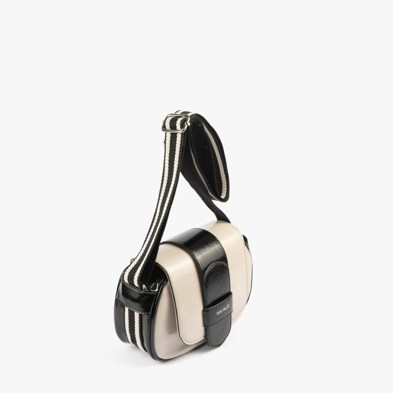 bolso badolera blanco y negro 45118 perfil