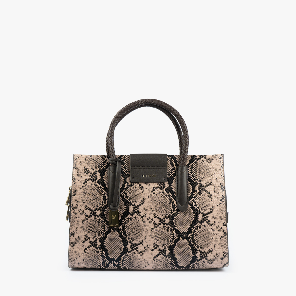 bolso de mano animal print nude 22125 frontal