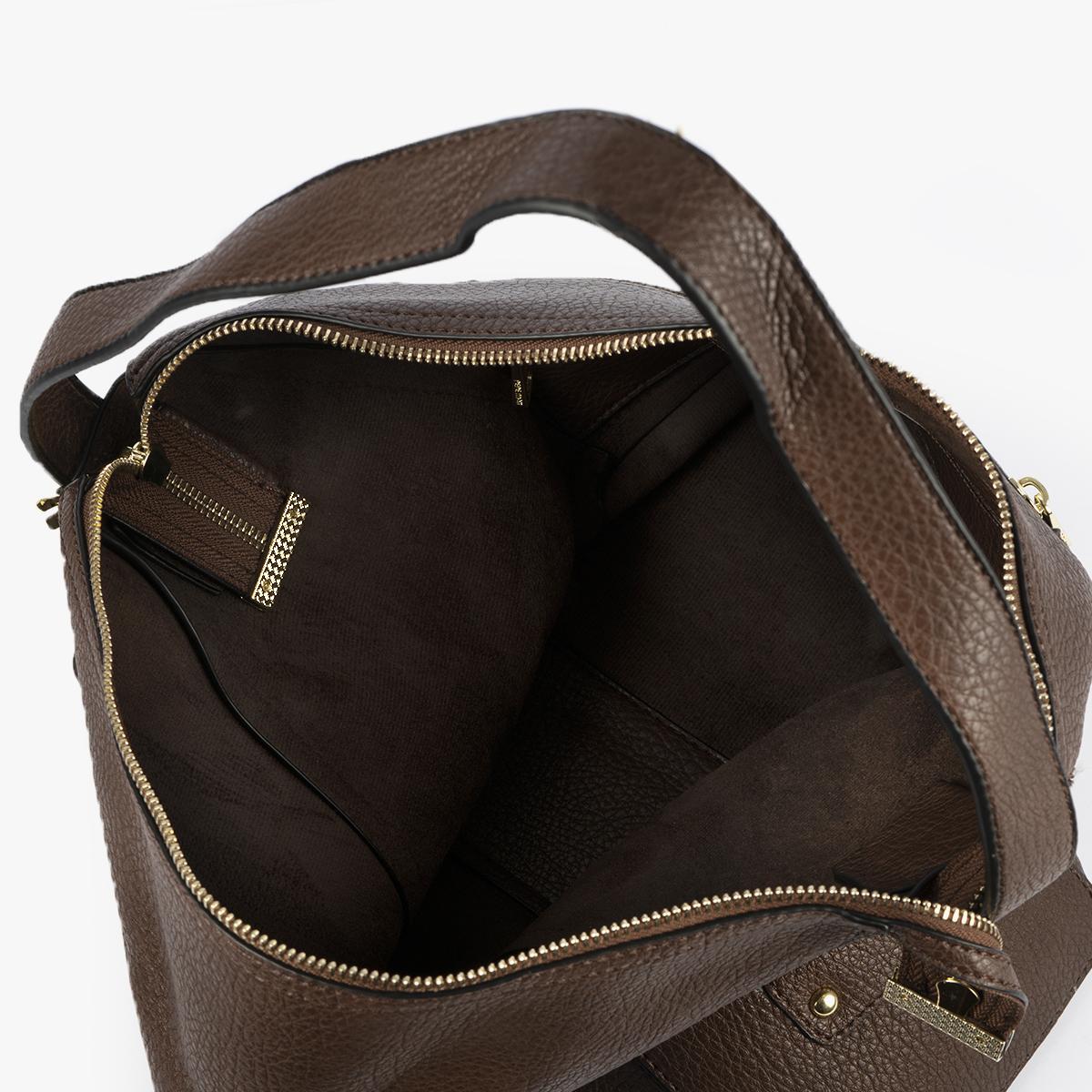 bolso de hombro marrón 41121 interior
