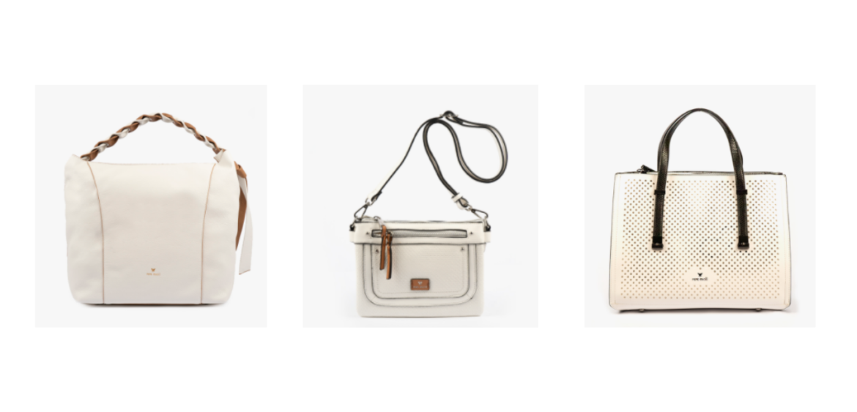 En esta imagen podrás observar tres bolsos blancos, uno de mano, otro bandolera y otro de hombro. Estos bolsos tienen un aire ibicenco y perfecto para este verano.